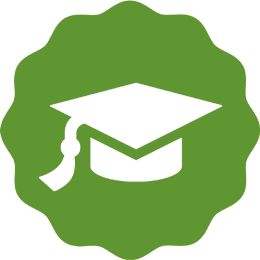 A white mortarboard on a wavy green circle.