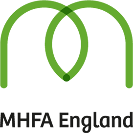 A rounded green M and the text MHFA England