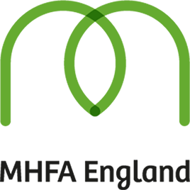 A green letter m with the words MHFA England below.